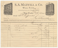 S. A. Maxwell & Co., bill or receipt