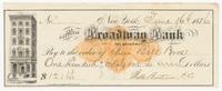 National Broadway Bank, bill or receipt