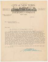 City of New York Insurance Company. Letter