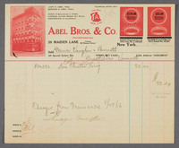 Abel Bros. & Co., 29 Maiden Lane. Recto of bill/receipt