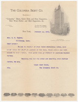 Columbia Skirt Co., letter