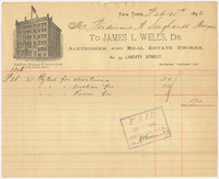 James L. Wells. Bill or receipt