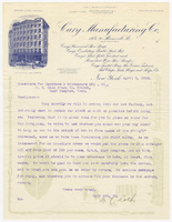 Cary Manufacturing Co., letter