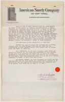 American Surety Company, letter