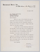 Letter from Ulysses Kay to Vladimir Ussachevsky relating to libretto of the Boor