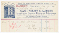 Wilbur & Hastings, bill or receipt