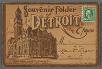 Souvenir folder of Detroit Mich.  Recto of souvenir booklet cover