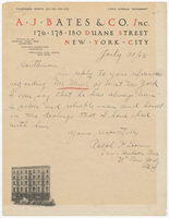 A. J. Bates & Co. Inc., bill or receipt