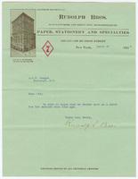 Rudolph Bros., letter