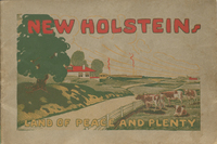 Enter Into the Land of Peace, Progress and Plenty : New Holstein in the beautiful Lake Winnebago region of Eastern Wisconsin. Cover.