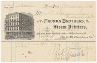 Froman Brothers, bill or receipt