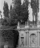 Colonna Gardens, niches, sculpture, and cypresses. Rome, Italy.