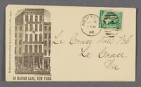 John F. Stratton, 49 Maiden Lane, New York. Envelope