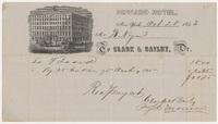 Howard Hotel. Bill or receipt