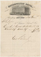 Metropolitan Hotel. Bill or receipt