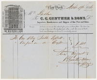 C. G. Gunther & Sons. Bill or receipt