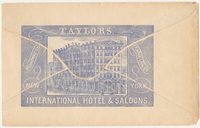 Taylors' International Hotel & Saloons. Envelope