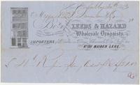 Leeds & Hazard. Bill or receipt