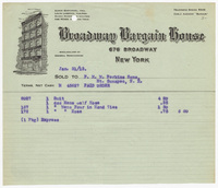 Broadway Bargain House, bill or receipt