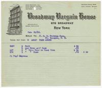 Broadway Bargain House, bill or receipt