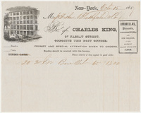 Charles King. Bill or receipt