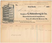 G. Sidenberg & Co. Bill or receipt
