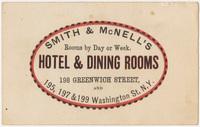Smith & McNell's Hotel & Dining Rooms. Card stock
