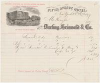 Fifth Avenue Hotel. Bill or receipt