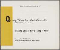 "Ulysses Kay's ""Song of Ahab"" program, recto"