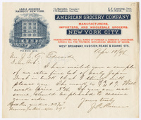 American Grocery Company, letter