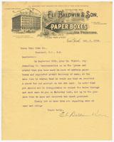 Eli Baldwin & Son, letter