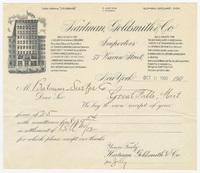Hartman, Goldsmith & Co., bill or receipt