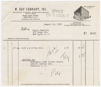 W. Kay Company, Inc., bill or receipt