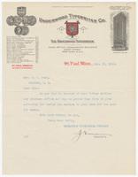 Underwood Typewriter Co., letter