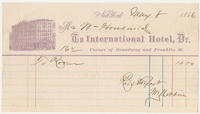International Hotel. Bill or receipt