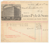 James Pyle & Sons, bill or receipt