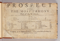 Prospect of the most famovs parts of the world.  Title page, Prospect