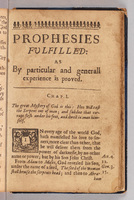 Breaking of the day of God.  Chapter 1, title page, Prophecies fulfilled