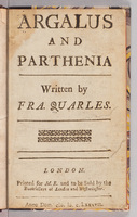 Argalus and Parthenia.  Title page