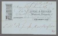 Leeds & Hazard, Wholesale Druggists, No. 121 Maiden Lane. Recto of bill/receipt