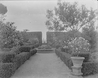 Colonna Gardens, view towards flower garden. Rome, Italy.