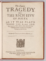 Famous Tragedy of the Rich Ievv of Malta.  Title page