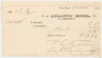 Atlantic Hotel. Bill or receipt