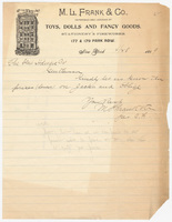M.L. Frank & Co., letter