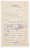 Draft manuscript letter, with autograph corrections, to Board of Trustees, New York Press Club