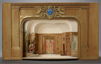 "Model of the setting for ""La Folie de Clidamant"" by Alexandre Hardy as seen at the Hotel de Bourgogne, Paris, ca. 1630"