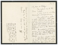 Autograph letter, signed, to Kate Davis Pulitzer