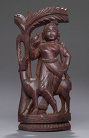 Wooden figurine of Shahuntola and Deer