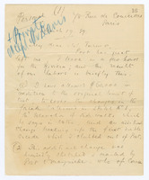 Manuscript letter with autograph notes, signed, to Turner, page 1