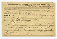 Telegram on Newsboys' Strike